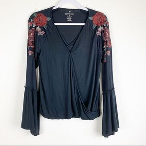 American Eagle | Soft & Sexy Bell sleeve Faux Wrap
